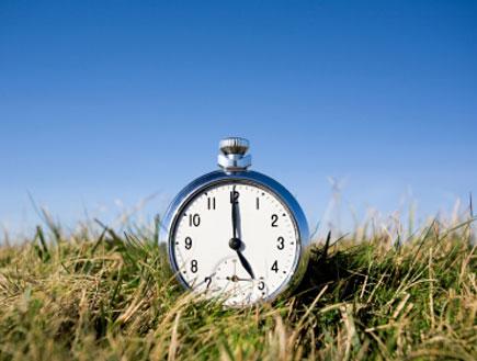 שעון המכוון על שעה 5 מונח על דשא (צילום: mako  ,istockphoto)