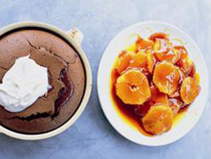 קלפוטי שוקולד עם תפוזים בקרמל (צילום: mako )