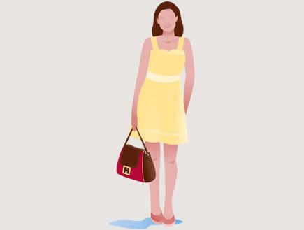 איור של בחורה בשמלה צהובה