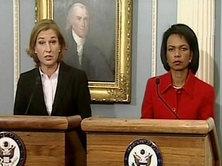 ציפי לבני וקונדוליזה רייס בוושינגטון  (צילום: חדשות 2)