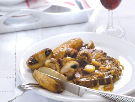 צלי בקר עם פטריות וארטישוק ירושלמי (צילום: דניאל לילה ,על השולחן)