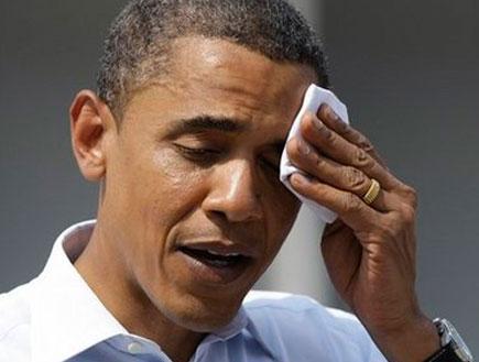 ברק אובמה מזיע