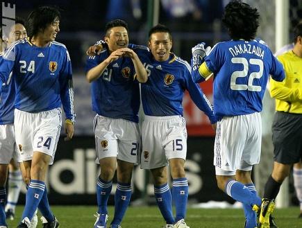 שחקני נבחרת יפן חוגגים (GettyImages)