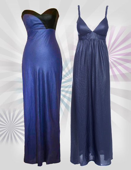 שמלות מקסי ערב. מימין לשמאל: סיגל דקל, קפה ביזאר