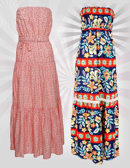 שמלות מקסי. מימין לשמאל: בילבונג, גאפ