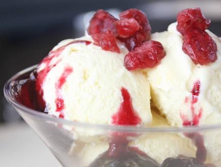 גלידת וניל עם קונפיטורת פירות יער(יחסי ציבור)