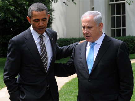 בנימין נתניהו וברק אובמה על מדשאות הבית הלבן (צילום: חדשות 2)