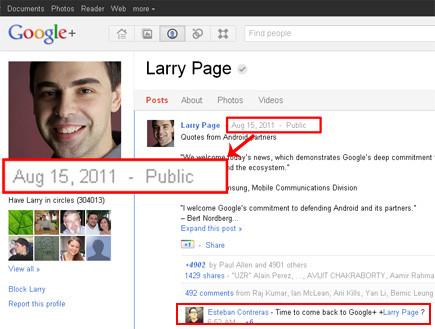 """פרופיל גוגל פלוס של מנכ""""ל גוגל, לארי פייג' (צילום: צילום מסך)"""