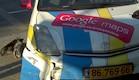 """הרכב של גוגל סטריט ויו נפגע בתאונה בת""""א (צילום: רון עוזרי  ,גלובס)"""