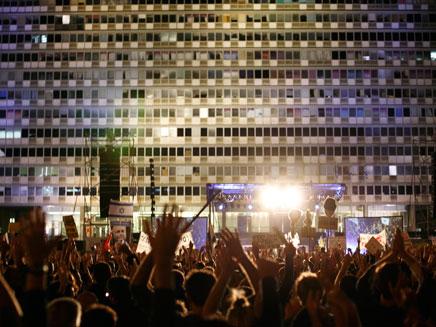 עצרת המחאה, אמש בכיכר רבין (צילום: AP)