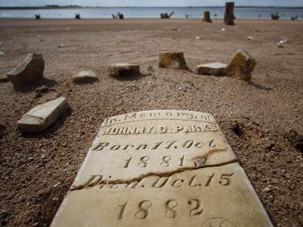 קבר עתיק שנחשף בבלופטון, טקסס (צילום: AP)