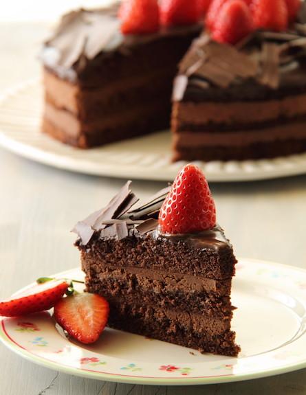 תוצאת תמונה עבור עוגת שוקולד עם תותים