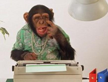 קופים הקלידו אקראית את כל יצירות שייקספיר. בערך (וידאו WMV: dailymail.co.uk)