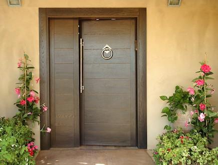 כניסות לבית. דלת עץ יוקרתית של open gallery