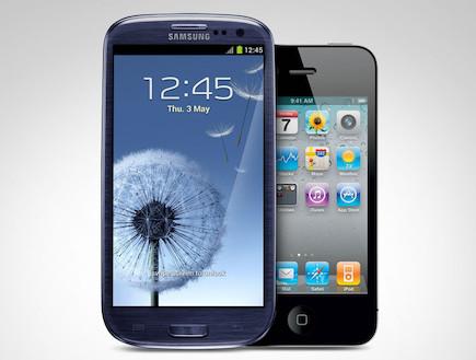 אייפון 4S מול גלקסי S3 (צילום: אילוסטרציה)