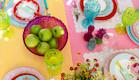 שולחן חג-ציבעוני בעיצוב אורית זילברמן (צילום: ליאור קסון)