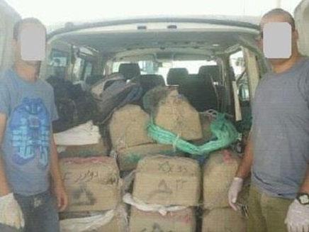 הסמים שנתפסו ליד הגבול (צילום: משטרת ישראל)