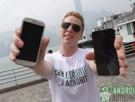אייפון 5 נגד גלקסי S3 במבחן נפילה (צילום: יוטיוב )