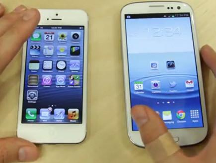 גלקסי S3, אייפון 5 (צילום: יוטיוב )