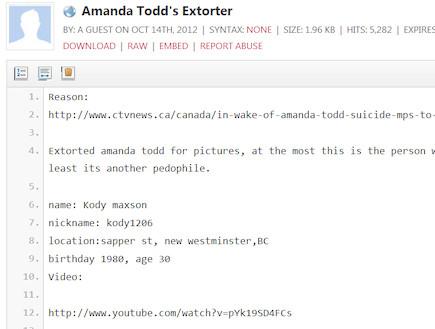 קודי מקססון, הפרטים שנחשפו באתר Pastebin