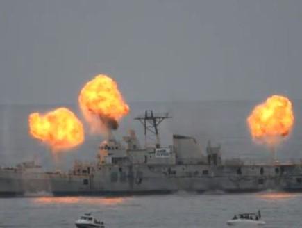ספינת הצי הפורטוגלי אוליביירה אי קארמו (וידאו WMV: יוטיוב  ,צילום מסך youtube)