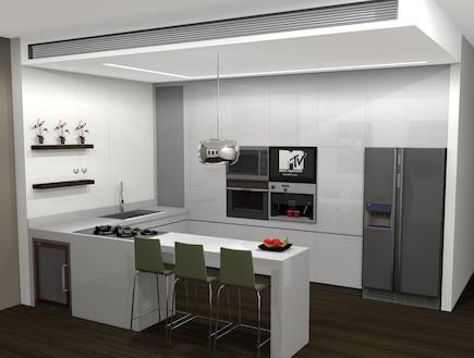 מדפי עץ חומים במטבח
