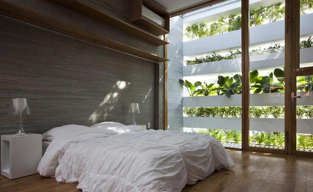 בית ירוק, חדר שינה (צילום: Hiroyuki Oki)