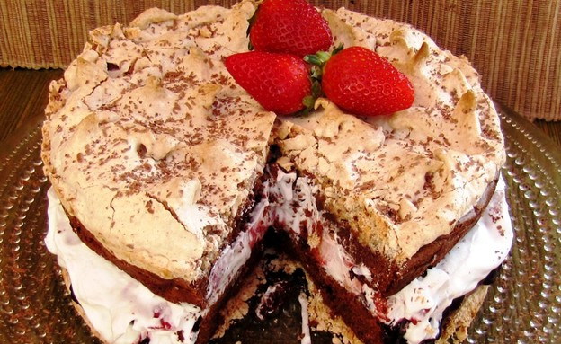 עוגת שכבות שוקולד מרנג (צילום: דליה מאיר ,קסמים מתוקים)