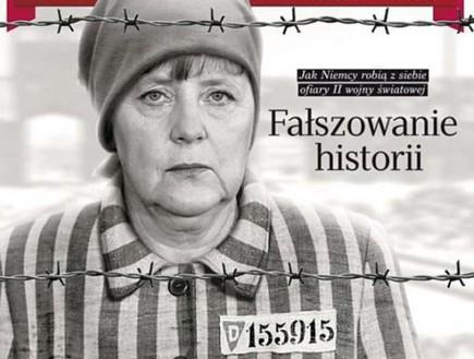 אנג'לה מרקל במדי אסיר במחנה ריכוז