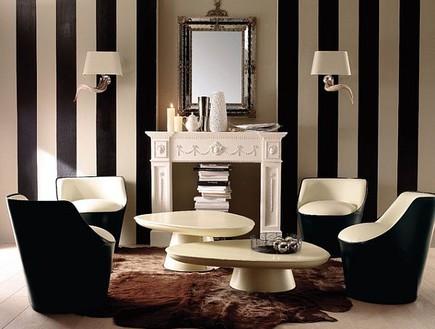 קירות פסים, שחור לבן