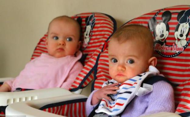 קייטי ואיימי - תאומות בשיר גינס (צילום: dailymail.co.uk ,dailymail.co.uk)