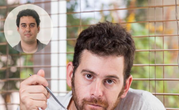 עומר מילר והמנה שהכין לאהוד שבתאי (צילום: בני גם זו לטובה ,אוכל טוב)