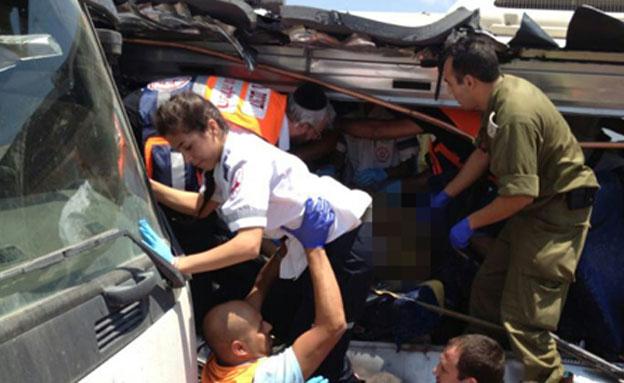 זירת התאונה, אוגוסט האחרון (צילום: דוברות איחוד הצלה)