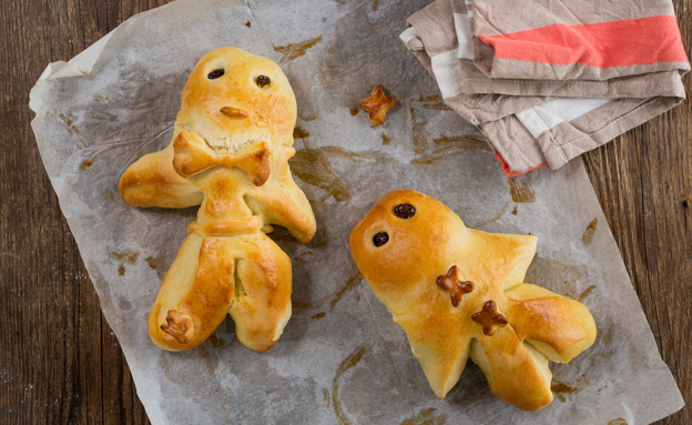 בובות לחם של חג המולד (צילום: בני גם זו לטובה ,אוכל טוב)