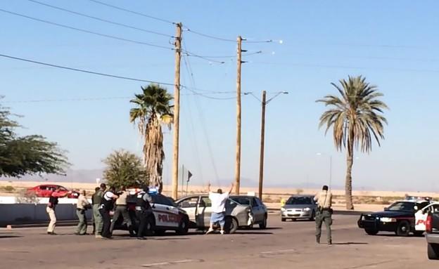 מרדף אחרי גנב רכב באריזונה שהסתייים בירי (צילום: יוטיוב )