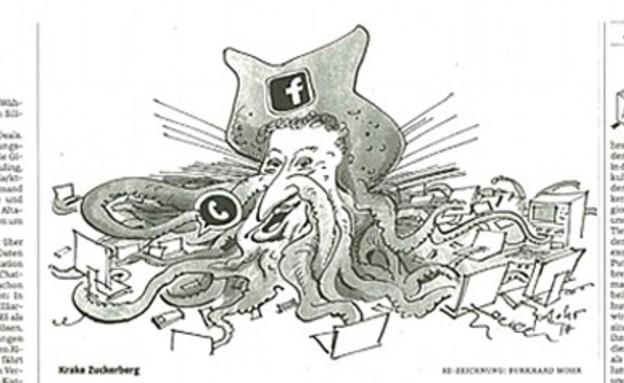 הקריקטורה של צוקרברג (צילום: צילום מסך מתוך Süddeutsche Zeitung)