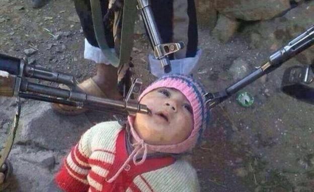 בן הערובה הכי צעיר בסוריה (צילום: twitter)