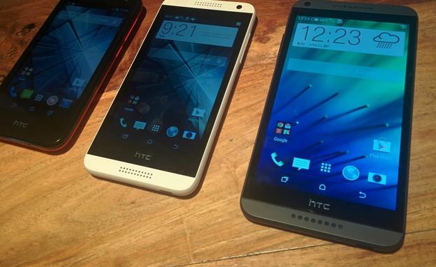 מימין: HTC Desrie 810, 610 ,310 (צילום: אמיתי זיו)