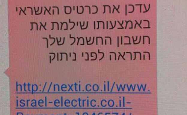 ההודעה שנשלחה לצרכנים (צילום: חדשות 2)