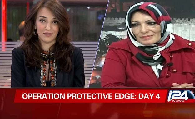 לוסי אהריש עונה לעיתונאים מעזה (תמונת AVI: i24news ,mako)