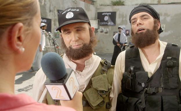 ראיון בלעדי עם ראשי ארגון דאעש (תמונת AVI: מתוך תכנית קיציס ,שידורי קשת)