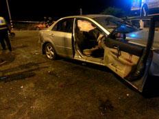 הרכב שנפגע כתוצאה מנפילת הרקטה, הערב