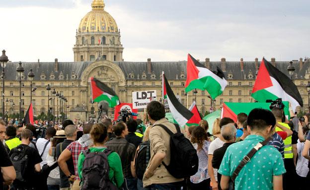 מפגינים פרו פלסטינים בפריז (צילום: AP)