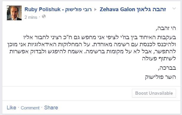 זהבה גלאון בפייסבוק