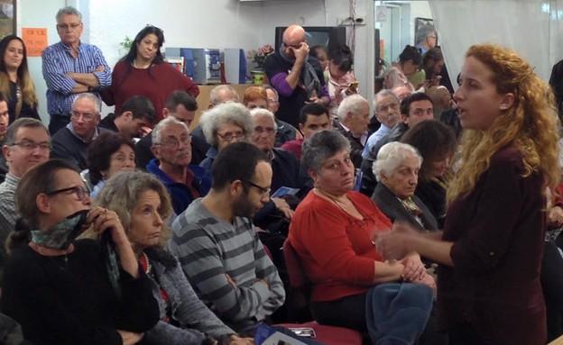 סתיו שפיר באירוע של מפלגת העבודה ברמת השרון, ינואר 2015 (צילום: טל שניידר ,mako)