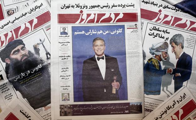 ג'ורג' קלוני על שער עיתון איראני (צילום: אימג'בנק/GettyImages ,getty images)