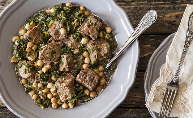 תבשיל בשר עם חומוס ותרד  (צילום: אסף אמברם ,אוכל טוב)