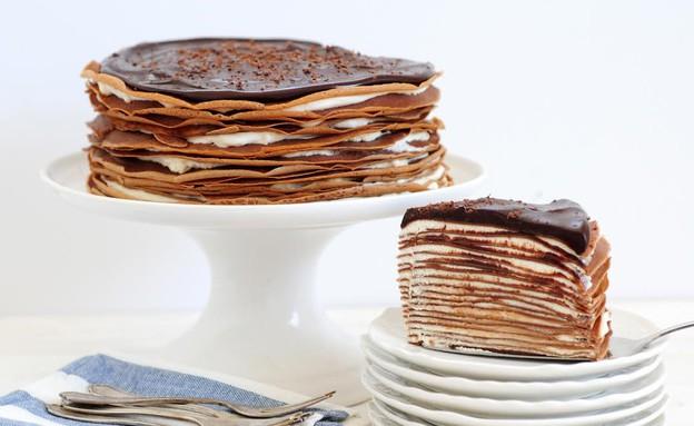 עוגת קרפים שוקולית (צילום: שרית נובק ,אוכל טוב)