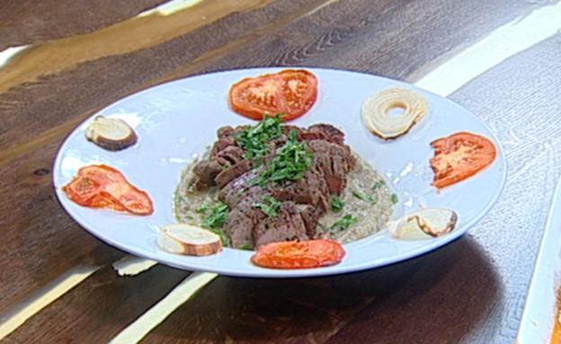 פילה בקר עם מחית חצילים (צילום: קשת ,מאסטר שף VIP)