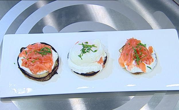 פנקייק סלמון וביצה עלומה (צילום: קשת ,מאסטר שף VIP)